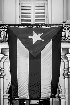 Cuban Flag Key West - Black And White Poster by Ian Monk
