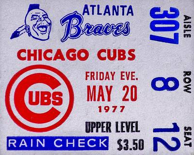 Cubs At Braves 1977 Poster by Benjamin Yeager