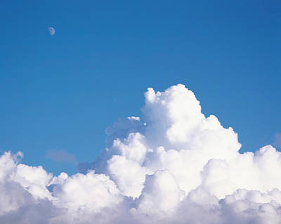 Cumulus Clouds And Moon In Sky Poster
