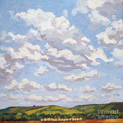 Poster featuring the painting Cumulus Clouds Over Flint Hills by Erin Fickert-Rowland