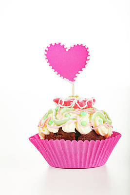 Cup Cake With Heart Decoration Poster
