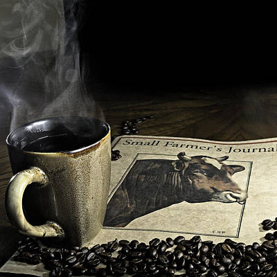 Cup Of Coffee And Small Farmer's Journal 1 Poster