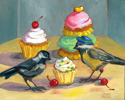Poster featuring the painting Cupcakes And Chickadees by Susan Thomas