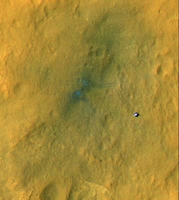 Curiosity Rover On Mars, Satellite Image Poster by Science Photo Library