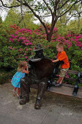 Curious Children In The Sculpture Garden II Poster