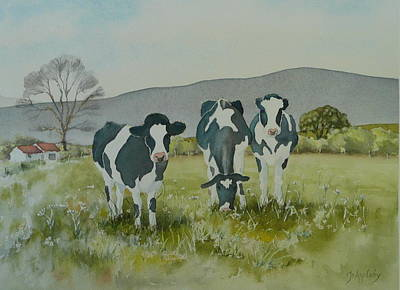 Poster featuring the painting Curious Cows by Jo Appleby