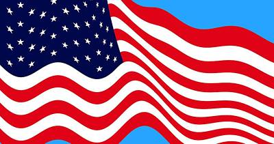Current American Flag Flying Cropped Poster by L Brown