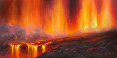 Erupting Kilauea Volcano On The Big Island Of Hawaii - Lava Curtain Poster by Karen Whitworth