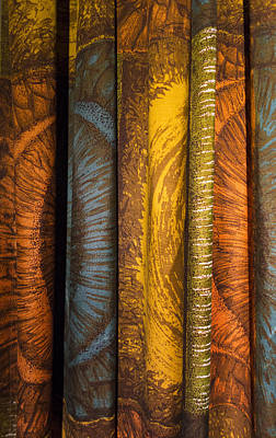 Curtain With Beautiful Yellow Orange Golden Brown And Blue Colors Poster