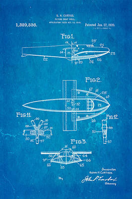 Curtiss Flying Boat Patent Art 1920 Blueprint Poster