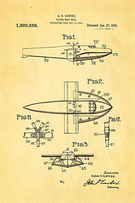Curtiss Flying Boat Patent Art 1920 Poster