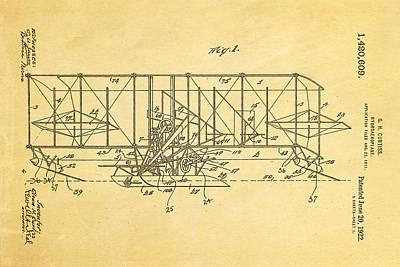 Curtiss Hydroaeroplane Patent Art 1922 Poster by Ian Monk