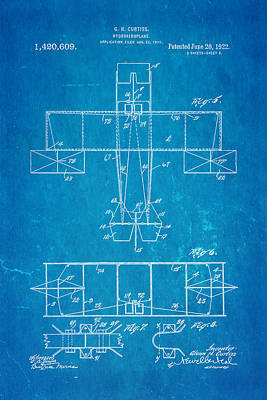 Curtiss Hydroaeroplane Patent Art 3 1922 Blueprint Poster