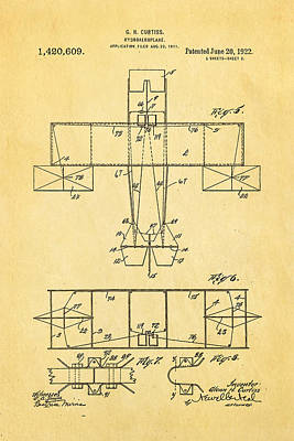 Curtiss Hydroaeroplane Patent Art 3 1922 Poster by Ian Monk