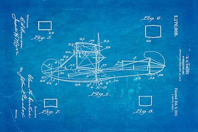 Curtiss Hydroplane Patent Art 1916 Blueprint Poster