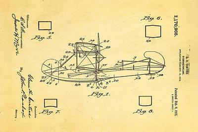 Curtiss Hydroplane Patent Art 1916 Poster