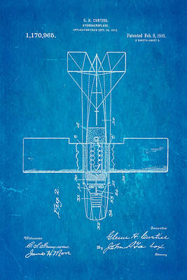 Curtiss Hydroplane Patent Art 2 1916 Blueprint Poster