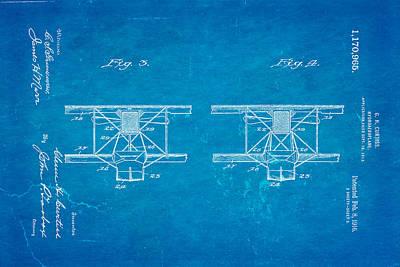 Curtiss Hydroplane Patent Art 3 1916 Blueprint Poster