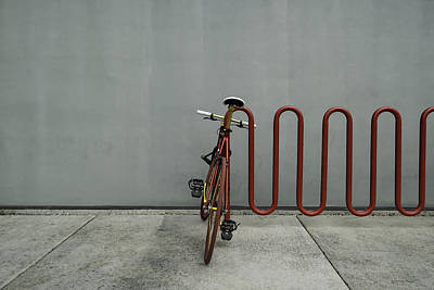 Poster featuring the photograph Curved Rack In Red - Urban Parking Stalls by Steven Milner