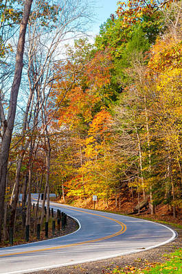 Curvy Autumn Road Poster by Kenneth Sponsler