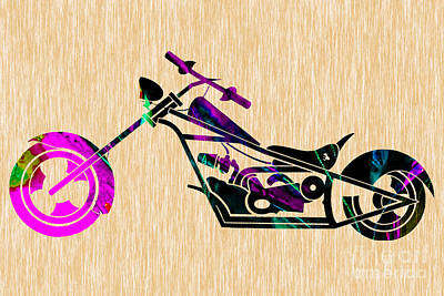 Custom Chopper Motorcycle Poster by Marvin Blaine