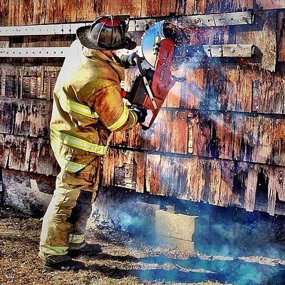 Cut Work #firefighter #saw #fire #jifd Poster