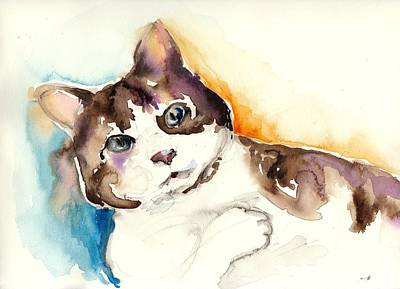 Cute Cat Watercolor Painting Poster by Tiberiu Soos