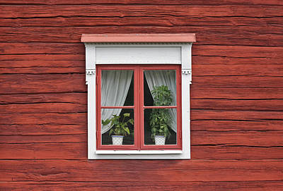 Cute Window On Red Wall Poster