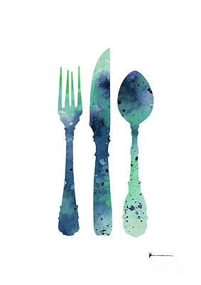 Cutlery Silhouette Art Print Watercolor Painting Poster
