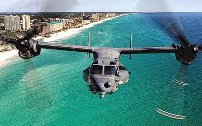 Cv 22 Osprey 8th Special Operations Over Emerald Coast Florida Poster by Senior Airman Julianne Showalter - L Brown