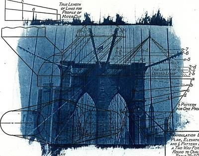 Cyanotype Brooklyn Bridge IIi Poster by Jane Linders