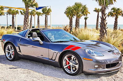 Cyber Gray Grand Sport Corvette At The Beach Poster