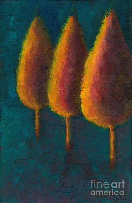 Poster featuring the painting Cypress Trees by Sandy Linden