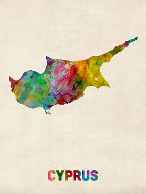 Cyprus Watercolor Map Poster by Michael Tompsett