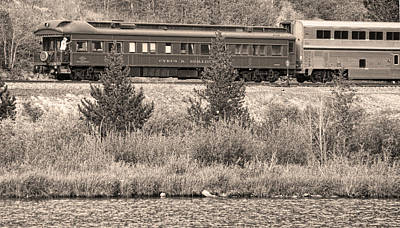 Cyrus K  Holliday Private Rail Car Bw Sepia Poster by James BO  Insogna