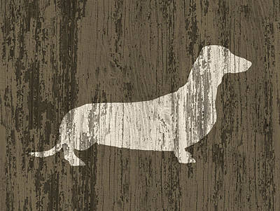 Dachshund On Wood Poster by Flo Karp