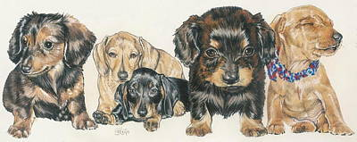 Dachshund Puppies Poster by Barbara Keith