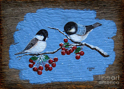 Dad's Chickadees Poster by Karen Adams