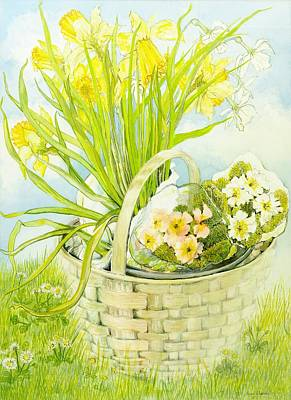 Daffodils And Primroses In A Basket Poster