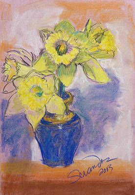 Daffodils In Blue Italian Vase Poster by Sciandra