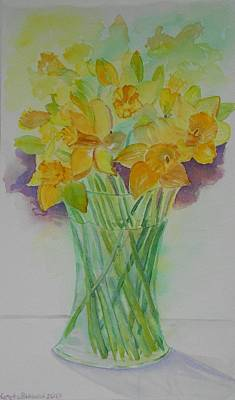 Daffodils In Glass Vase - Watercolor - Still Life Poster by Geeta Biswas