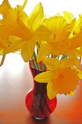 Poster featuring the photograph Daffodils In Red Vase by Diane Alexander