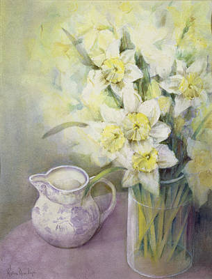Daffodils With Oriental Jug Wc Poster by Karen Armitage