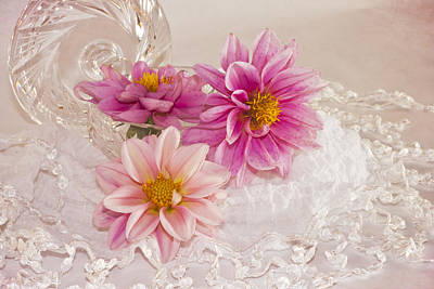 Poster featuring the photograph Dahlias And Lace by Sandra Foster