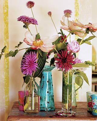 Dahlias And Peonies In Majolica Vases Poster by James Merrell