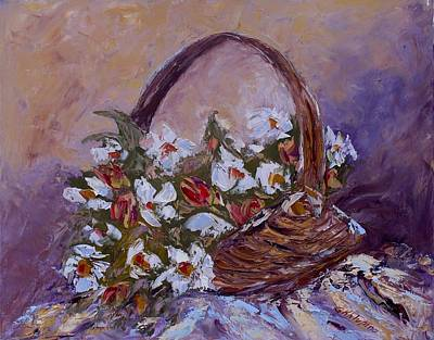 Daisies In The Old Basket Poster