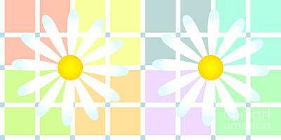 Daisies Over Soft Pastel Plaid Poster by Sylvie Bouchard