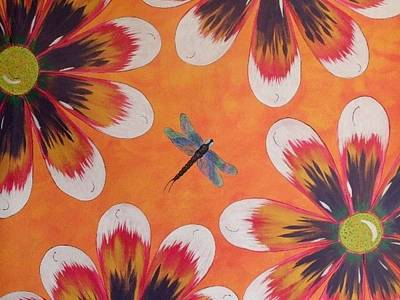 Daisy And Dragonfly Poster by Cindy Micklos