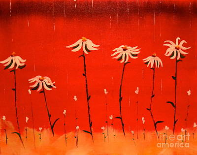 Poster featuring the painting Daisy Rain by Denise Tomasura