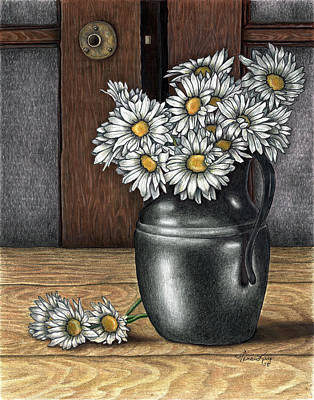 Daisy's Vase Poster by Vivian Mosley